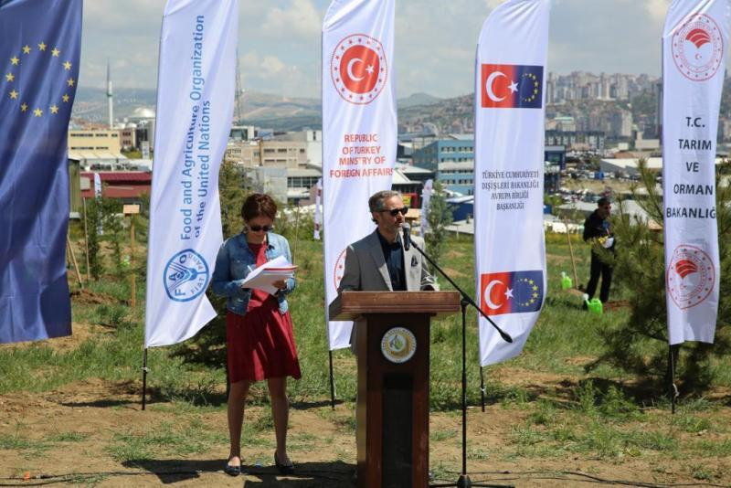 Gabriel Vinals Munera speaks at the tree planting ceremony