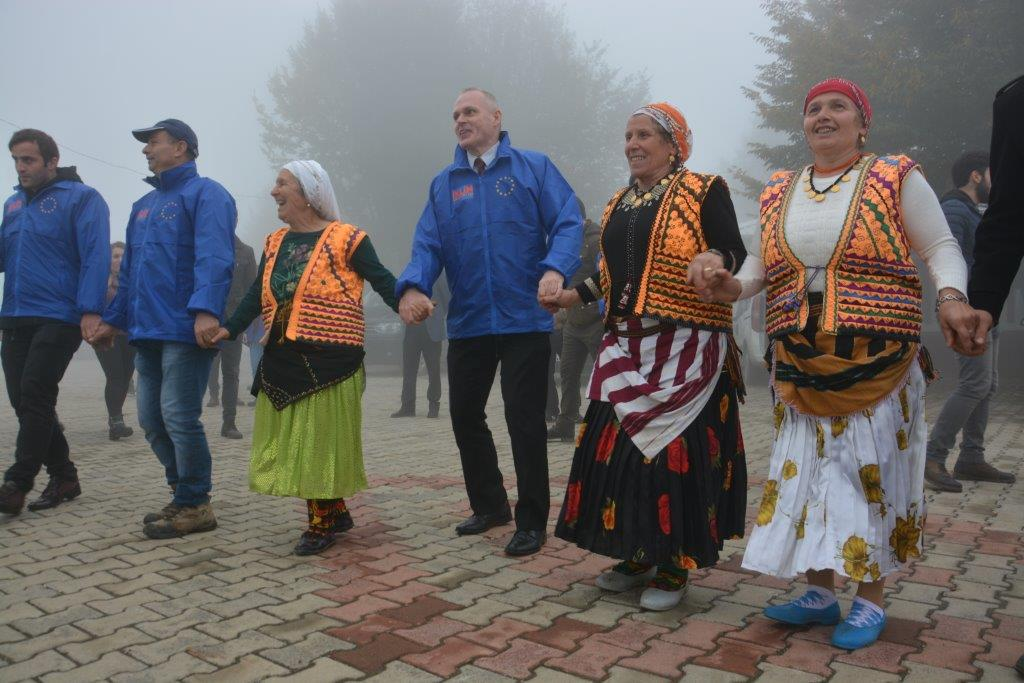 "Deputy Head of the EU Delegation's Economic and Social Development section Tibor Sztaricskai dances the traditional ""Horon"" in Trabzon with local women and students after tree planting and an interactive chat on climate change."