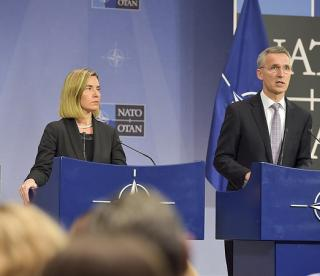 High-Representative/Vice-President Federica Mogherini at the joint press conference with Jens Stoltenberg