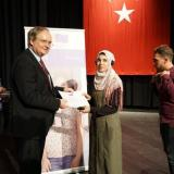 The Head of the EU Delegation to Turkey, Ambassador Christian Berger, congratulates Syrian students on their scholarships for Turkish language training
