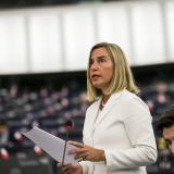 Federica Mogherini making a declaration