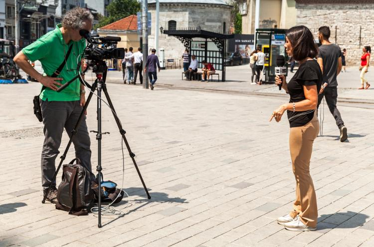 A team of Italian Journalist in Taksim Square Istanbul
