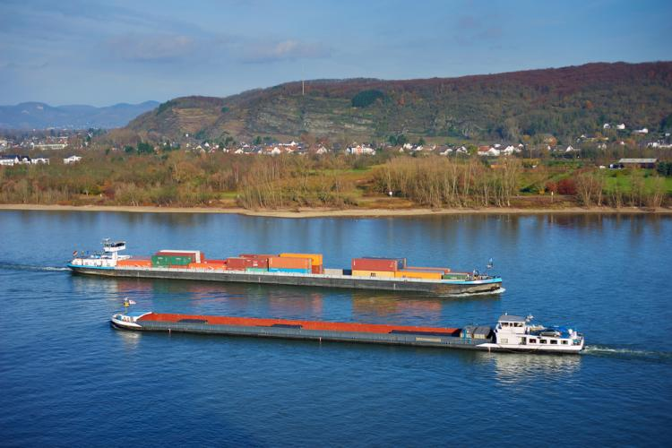 The Rhine river in Europe, plays a major role in freight transport for the 21st century connecting many towns, cities and border regions along its route