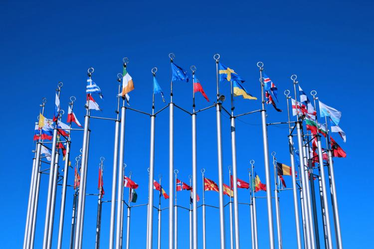 European countries flags on a blue sky