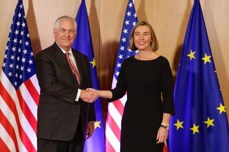EU High Representative Federica Mogherini with U.S. Secretary of State Rex Tillerson