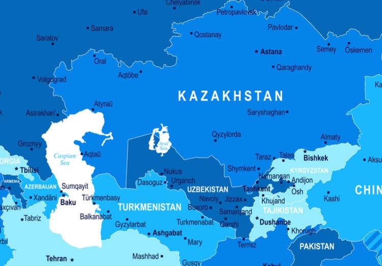 Political Map Of Central Asia.The Eu And The Countries Of Central Asia Held Their High Level