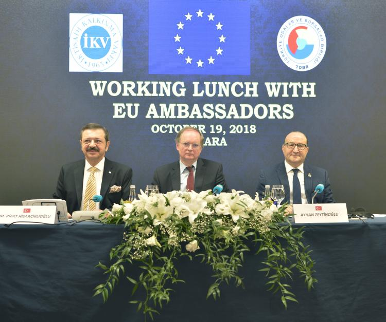 Ambassadors of the EU Member States and the Head of the EU Delegation to Turkey Ambassador Christian Berger, met todaywith Rifat Hisarciklioglu, President of the Union of Chambers of Commerce (TOBB) and IKV President Ayhan Zentinoglu at a working lunch at