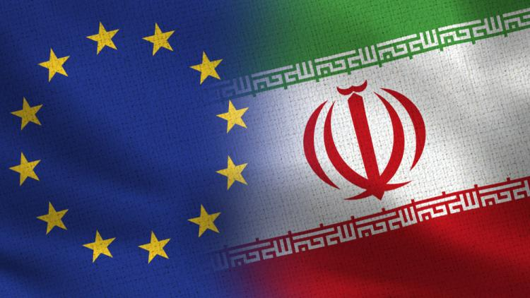 Iran and EU flags