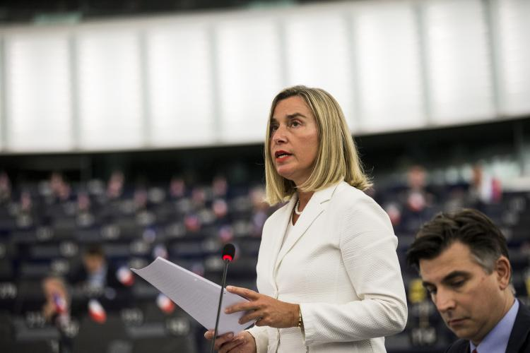 federica Mogherini speaking in Strasbourg before EP Plenary session